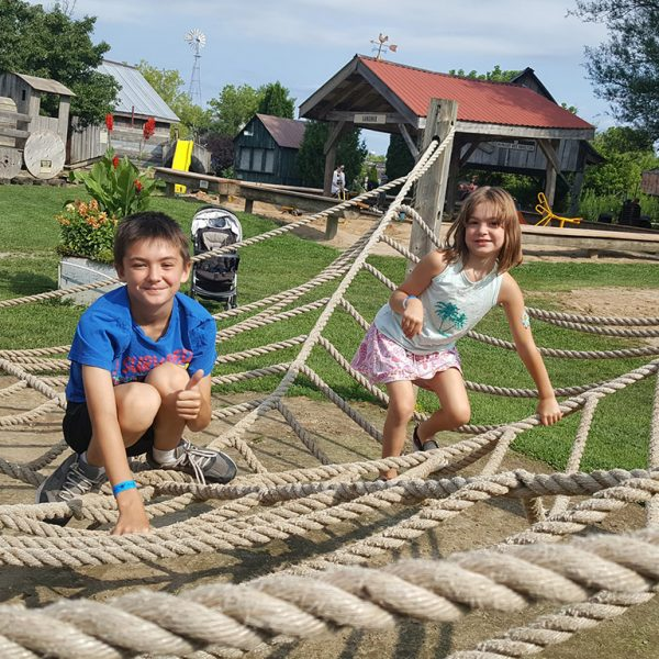 Kids playing on ropes
