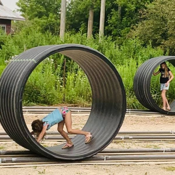 Girls playing on the Hamster Wheels