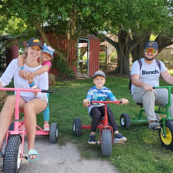 Family riding the Adult Tricycles